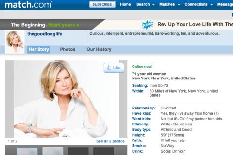 Martha Stewart's famous Match.com profile.