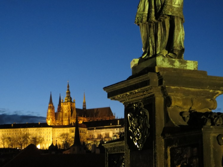 Prague Castle at dusk.