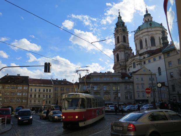 Juxtaposition of two eras in Prague's history.