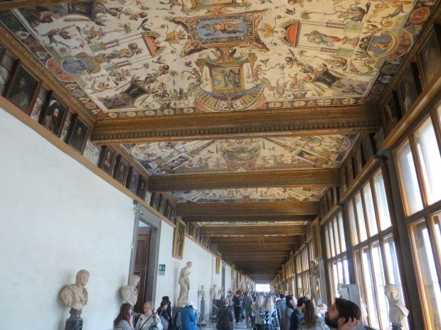 Inside the Uffizi.