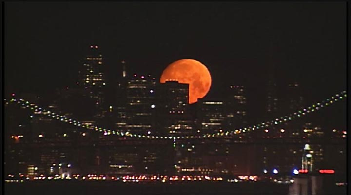 A blood moon over San Francisco.