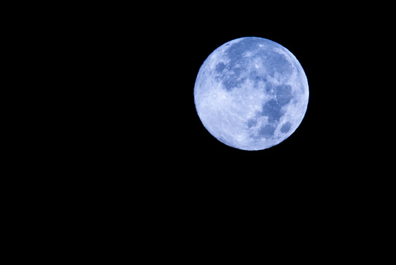 Blue moon over New York City in 2012.