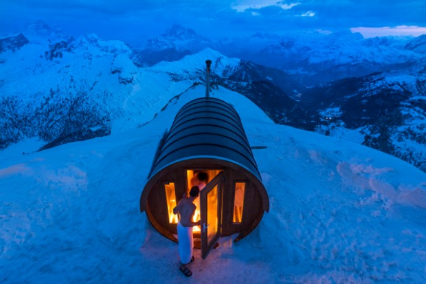 A sauna  at 2.800 mt high, in the heart of Dolomites. Monte Lagazuoi, Cortina, eastern Italian Alps.