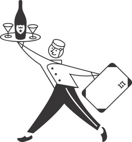 Frizz mit Koffer und Tablet